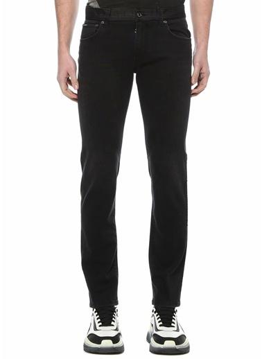Dolce&Gabbana Dolce&Gabbana 101620100 Slim Fit Kamuflaj Detaylı Erkek Jean Pantolon Siyah